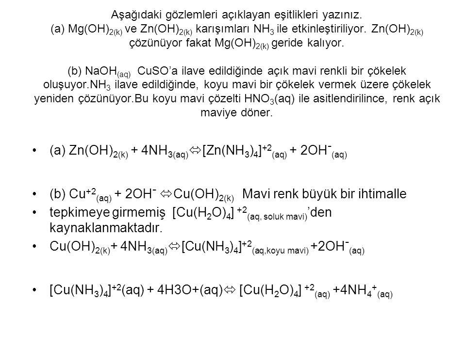 (a) Zn(OH)2(k) + 4NH3(aq)[Zn(NH3)4]+2(aq) + 2OH-(aq)